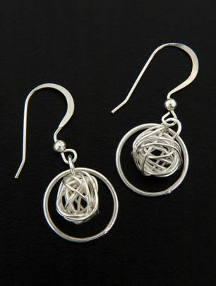 Mesh round w/ Ring Earrings