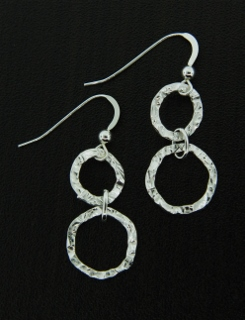 Hammered Round Silver Earrings