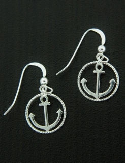 Anchor Circle Rope Earrings