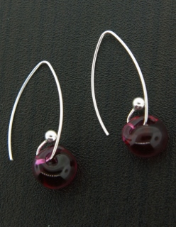 Curled Marquis Earrings in Fireball Red