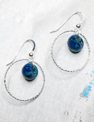 Diamond Cut Hoops Earrings - London Blue