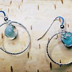 Diamond Cut Hoops Earrings w/ Sky Blue