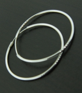 Silver Hoops Earrings - 35mm
