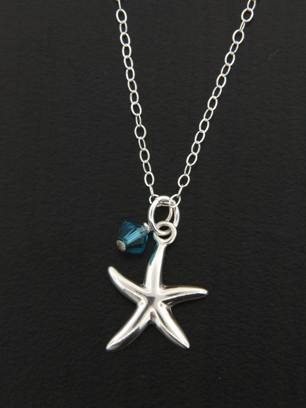 Starfish Necklace w/ Crystal