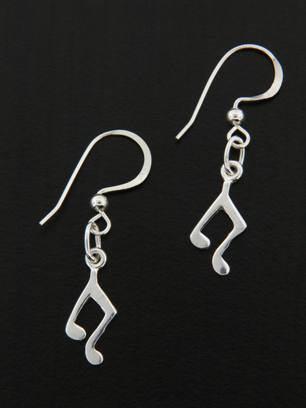 Music Notes Silver Earrings