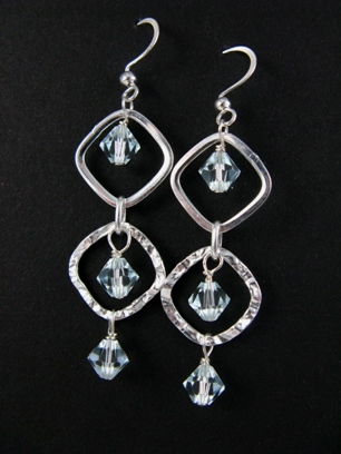 Silver Diamond Hammered Azure Earrings