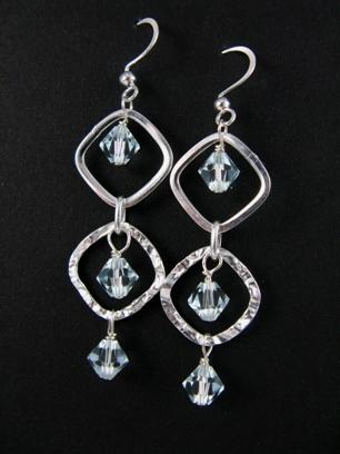 Silver Diamond Hammered Azure Earrings