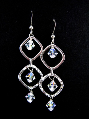Silver Diamond Hammered Clear AB Earrings