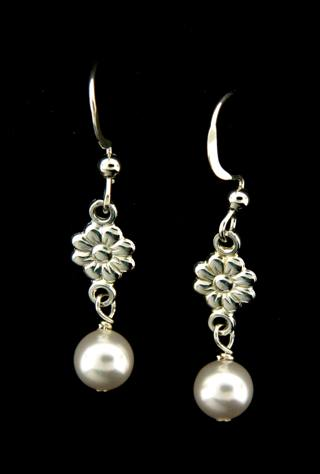 White Crystal Pearl Earrings