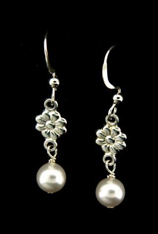 White Crystal Pearl Earrings