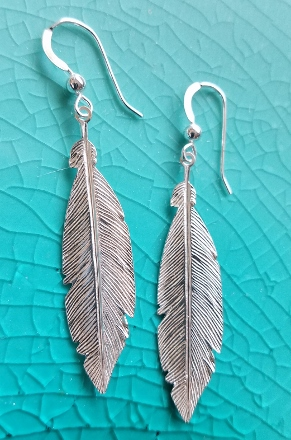 Large Silver Feather Earrings