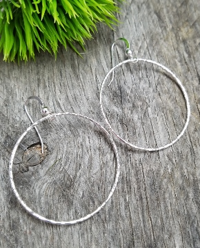 Silver Large Hammered Round Hoop Earrings