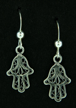 Hamsa Hand Silver Earrings