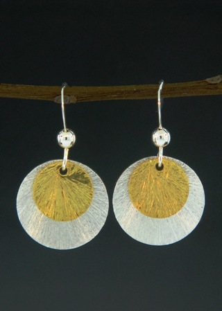 Two-Tone Disk Earrings - Gold/Silver