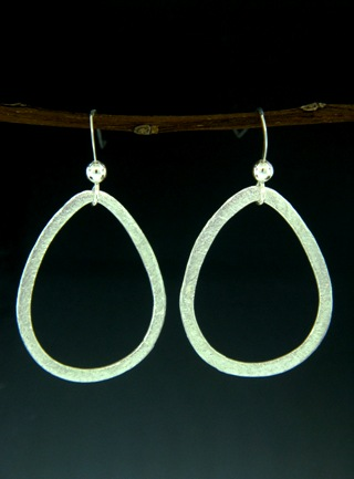 Silver Brushed Teardrop Earrings