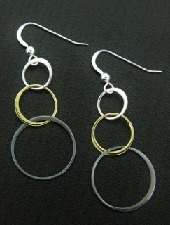 Mixed Metal Bubble Earrings