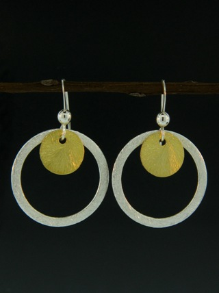 Two-Tone Full Circle Earrings - Gold/Silver
