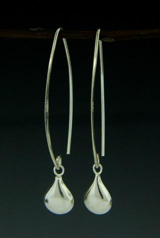 Silver Kisses Marquis Earrings