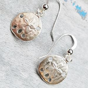 Silver Matte Sand Dollar Earrings