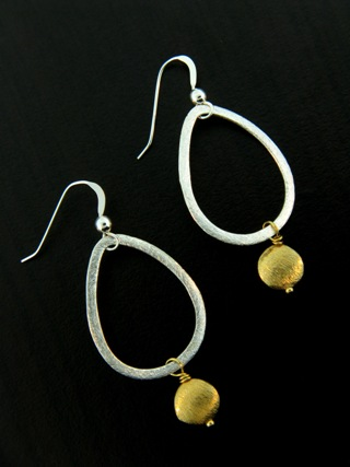Two-Tone Teardrop Disk Earrings - Gold/Silver