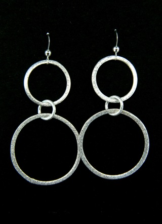 Brushed Silver Large Double Circle Earrings