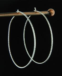 Silver Diamond Cut Hoops - 40mm