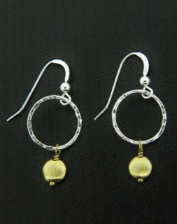 Two-Tone Hammered Drop Earrings - Gold/Silver