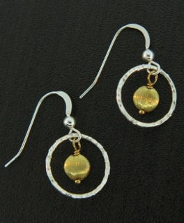 Two-Tone Hammered Earrings - Gold/Silver