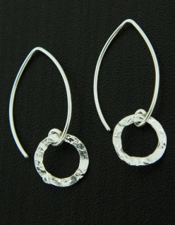 Marquis Round Hammered Earrings