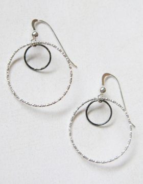 Two-Tone Mixed Metal Diamond Cut Earrings