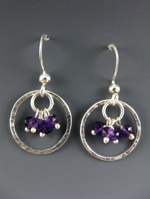 Gemstone Cluster Earrings in Amethyst