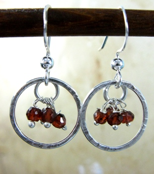 Gemstone Cluster Earrings in Garnet