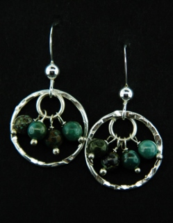 Gemstone Cluster Turquoise Earrings