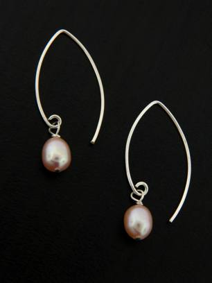 Pearl Marquise Earrings in Pink