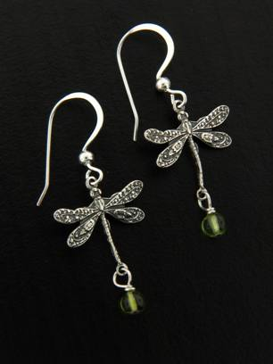 Dragonfly Earrings w/ Peridot