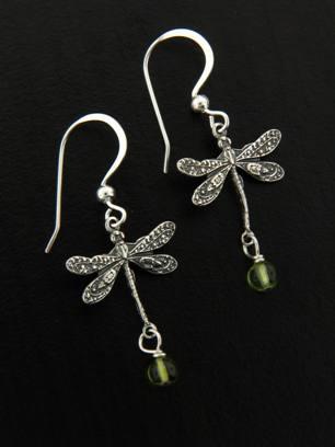 Dragonfly Earrings w/ Peridot
