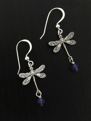 Dragonfly Earrings w/ Amethyst