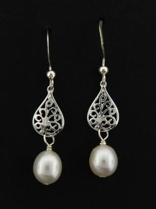 Pearl White Pear Silver Drops Earrings