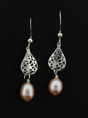 Pearl Pear Silver Drops Earrings