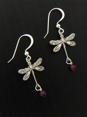 Dragonfly Earrings w/ Garnet