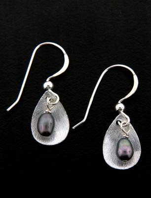 Grey Pearl Petal Drop Earrings