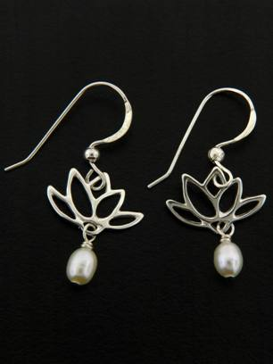 White Pearl Lotus Blooms Earrings