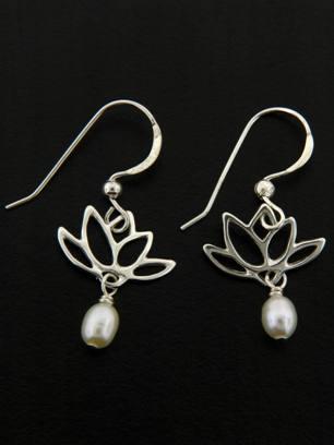 White Pearl Lotus Blooms Earrings