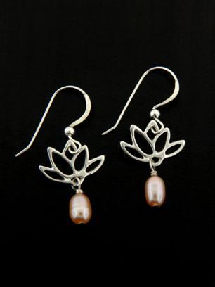 Pink Pearl Lotus Blooms Earrings