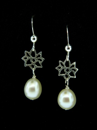 Silver Dahlia White Pearl Earrings