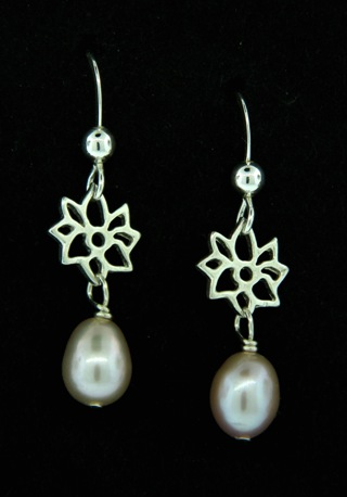 Silver Dahlia Pink Pearl Earrings