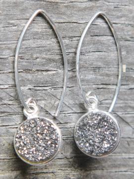 Silver Bezel Druzy Marquis Earrings - Grey