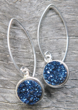 Silver Bezel Druzy Marquis Earrings - Blue