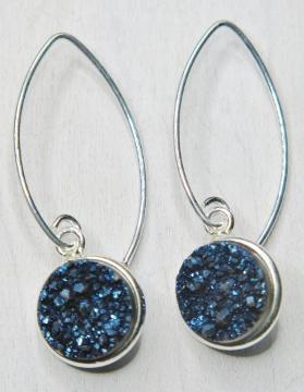 Silver Bezel Druzy Marquis Earrings - Blue