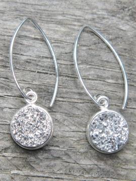 Silver Bezel Druzy Marquis Earrings - Silver